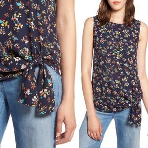 Halogen Floral Tie Front Sleeveless Blouse szXL